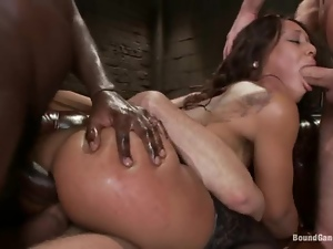 Cute Black girl gets double penetrated and facialed