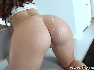 ShesNew Sexy ass brunette doggy style sex