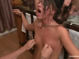 Gorgeous brunette gets fucked and facialed in a threesome