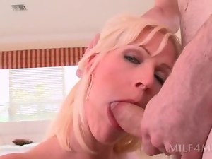 Slutty MILF deep throats shaft and gets cunt fingered hard