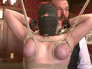Ugly bitch in the hood gets tied up and eats the cunt submissively