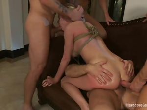 Rich blonde chick gets gangbanged and dominated by intruders