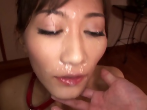 Miku Aoki enjoys sucking a cock and gets cum all over her face