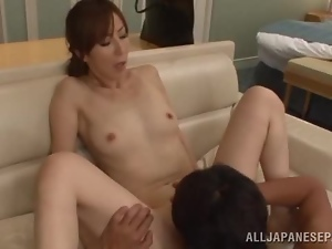 Japanese milf enjoys hot sex after giving a blowjob