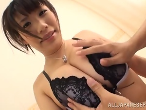 Japanese babe blows a dick and gets fingered deep