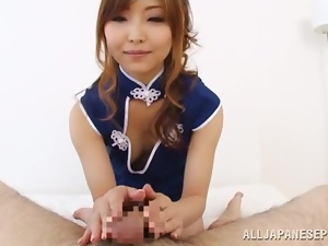 Sexy Hikari Kasumi sucks a cock and gives a titjob in POV