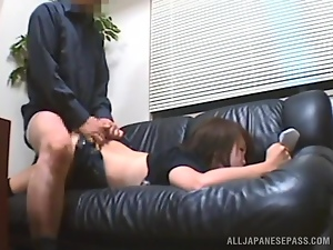 Japanese bitch sucks a prick and enjoys hot rear banging