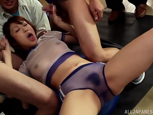 Desirable Sae Aihara gets to play with a lot of cocks