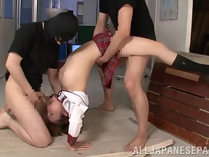 Hikaru Shiina gets her pussy ripped apart by two guys