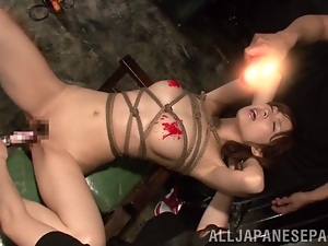 Hikaru Shiina gets her body covered with hot wax in BDSM clip