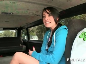 Teen amateur talked into getting fucked in the bus