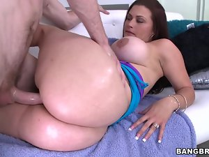 Busty Carmen Ross gets fucked doggystyle and jizzed on her ass