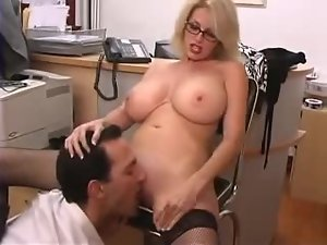 Sexy blonde milf gets her hot pussy fucked from behind in an office