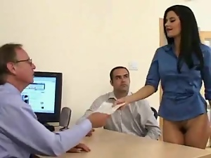 Sexy secretary forgets to put her skirt on while serving coffee to her boss