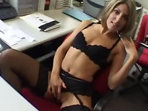 Blonde chick in black lingerie gets nailed in the office