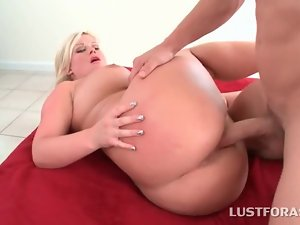 Fat ass blonde cunt and mouth drilled on the floor
