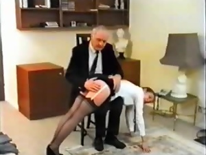 Nasty secretary gets spanked by her boss in the office