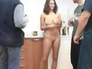 Busty office manager meets the guests all naked