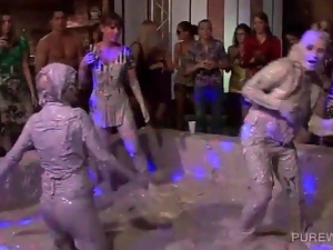 Hot bodied lesbos fighting in messy mud at a sex party