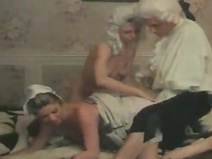 Beautiful maid gets fucked by her mistress and some guy