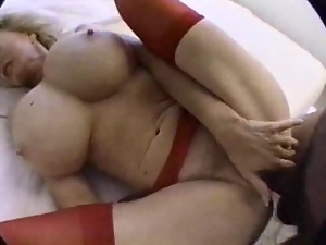 Bosomy blonde granny sucks a prick before taking it in her hairy vag