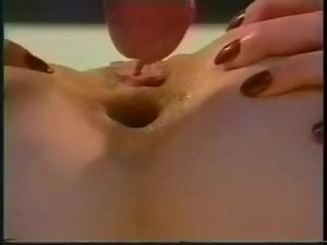 Short-haired brunette blows before taking the dick in her asshole