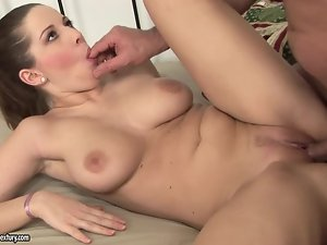 Pretty Nicole Sweet rides a cock and gets jizzed on her boobs