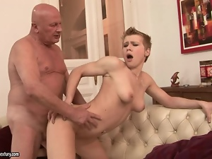Divine blondie Chicky gets a huge and old cock