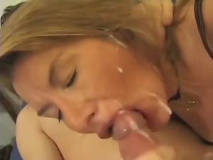 French Mom gets her ass fucked and face covered with cum