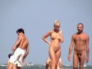 Horny couple is caving fun on the nudist beach