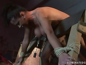Gorgoeus Andrea gets spanked and fucked in BDSM video