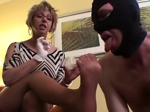 Sniffing & Cumming on Nylon Feet after a hot footjob