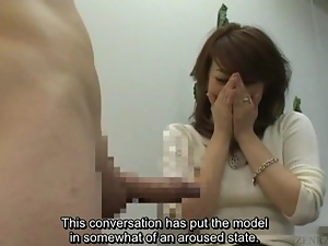 Subtitled Japanese CFNM orgy story leads to erection