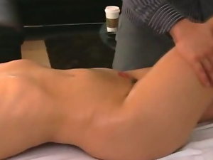 Big Titty Brunette Babe Getting Face Fucked On Massage Table