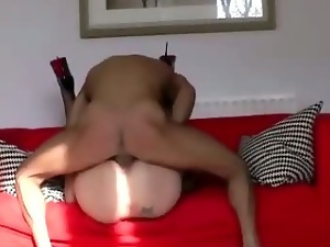 Horny mature brunette takes cock