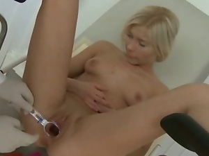 Blonde Gets Her Pussy And Ass Probed By Her Doctor