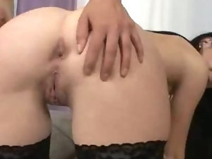 Isabella having two hands in her bottom