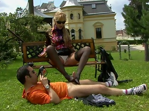 WETLOOK BLOWJOB IN THE PARK. Part 2