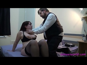 He disciplines a fat girl with cane