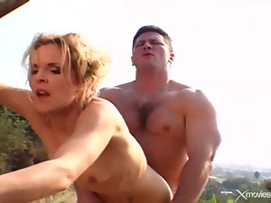 Horny wife on the farm fucked by a muscular guy