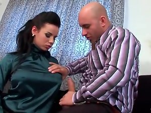 Big tits girl in satin blouse sucks a dick