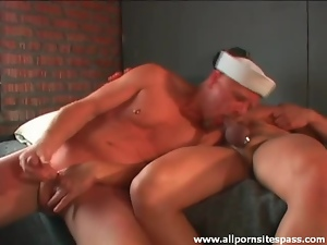 Sailor and Army guy suck cock together