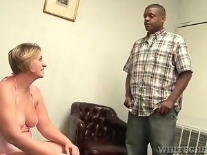 Black guy licks the armpits of a fat chick