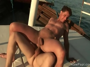 Big cock bareback sex on a boat