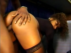 Girl watched as black cock fucks her on a bus