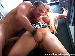 Bathroom doggystyle fuck with a blonde bimbo