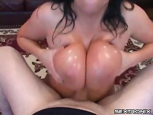 Big lubed tits give him pleasure in POV