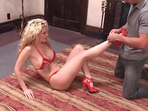 Curly hair blonde with a stunning body sucks cock