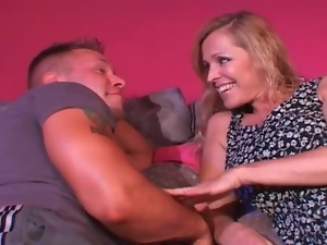 Busty milf seduces the muscular young guy