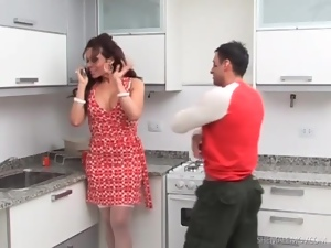 Tranny in a pretty dress sucks dick in kitchen
